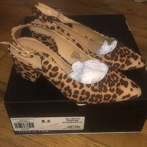 NWT NIB torrid leopard print sling back heels